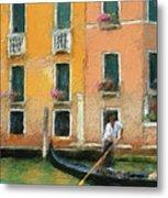 Venice Canal Boat Metal Print