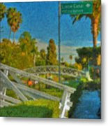 Venice Canal Bridge Signs Metal Print
