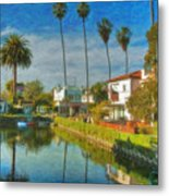 Venice Canal Houses Watercolor  Metal Print