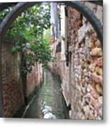 Venice Canal Through Gate Metal Print by Italian Art