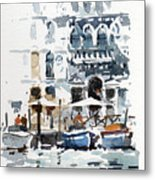Venice Canal With Barges Metal Print
