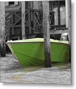 Venice Canals Green Boat Metal Print
