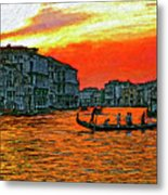 Venice Eventide Impasto Metal Print