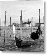 Venice. Gondola. Black And White. Metal Print