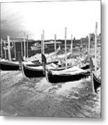 Venice Gondolas Silver Metal Print
