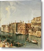Venice, Grand Canal And The Fondaco Dei Turchi  Metal Print