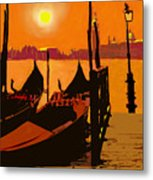Venice In Orange Metal Print