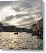 Venice Italy - Pearly Skies On The Grand Canal Metal Print