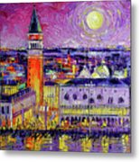 Venice Night View Modern Textural Impressionist Stylized Cityscape Metal Print