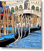 Venice Sunny Rialto Bridge Metal Print