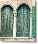 Venice Window Flower Pot Metal Print
