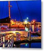 Ventura Harbor At Night Metal Print