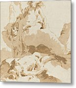 Venus And Cupid Discovering The Body Of Adonis Metal Print
