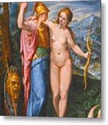 Venus And Minerva In A Landscape Metal Print