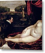 Venus And The Organist Metal Print by Titian