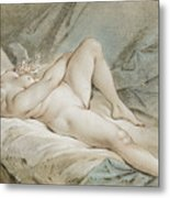 Venus Playing With Two Doves Metal Print