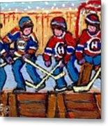 Verdun Hockey Rink Paintings Edmonton Oilers Vs Hometown Habs Quebec Hockey Art Carole Spandau       Metal Print