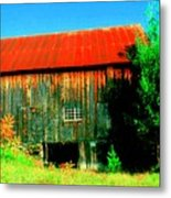 Vermont Barn With Really Red Roof  Metal Print
