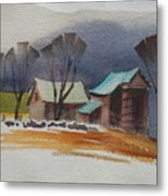 Vermont Barns  Sketch Metal Print