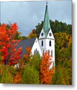 Vermont Church In Autumn Metal Print by Catherine Sherman