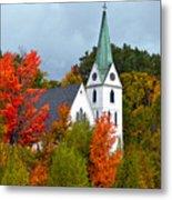 Vermont Church In Autumn Metal Print