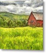 Vermont Farm Landscape Pencil Metal Print