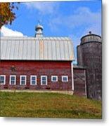 Vermont Farm Woodstock Vt Red Barn Metal Print