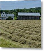 Vermont Farmhouse With Hay Metal Print