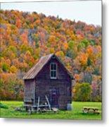 Vermont Garden Shed In Autumn Metal Print