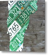 Vermont License Plate Map Art Edition 2017 Metal Print