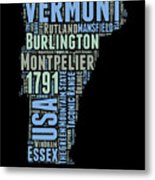 Vermont Word Cloud 1 Metal Print