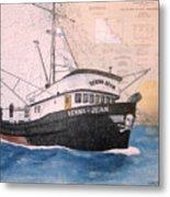 Verna Jean Fishing Boat Nautical Chart Map Metal Print