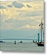 Verrazano Bridge With Schooner Metal Print