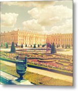 Versailles Gardens And Palace In Shabby Chic Style Metal Print