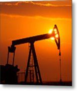Vertical Oil Rig Sunset Metal Print by Connie Cooper-Edwards