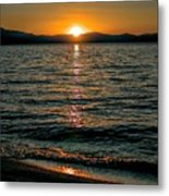 Vertical Sunset Lake Metal Print