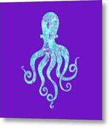 Vibrant Blue Octopus Beach House Coastal Art Metal Print