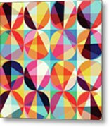 Vibrant Geometric Abstract Triangles Circles Squares Metal Print