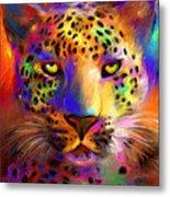 Vibrant Leopard Painting Metal Print