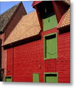 Vibrant Red And Green Building Metal Print