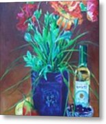 Vibrant Still Life Paintings - Poppies With Fruit And Wine - Virgilla Art Metal Print