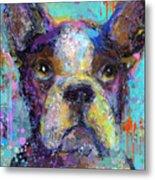 Vibrant Whimsical Boston Terrier Puppy Dog Painting Metal Print by Svetlana Novikova