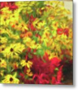 Vibrant Yellow Daisies And Red Garden Flowers Metal Print