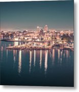 Victoria British Columbia City Lights View From Cruise Ship Metal Print