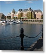 Victoria Harbour With Railing Metal Print by Carol Groenen