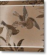 Victorian Birds In Sepia Metal Print