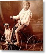 Victorian Boy With Pug Dog And Tricycle Circa 1900 Metal Print