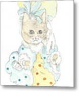 Victorian Cat In Blue And Yellow Metal Print
