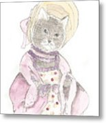 Victorian Cat In Purple Metal Print