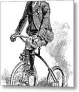 Victorian Gentleman Cycling Metal Print